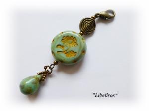 1 bronzefarbener Schmuckanhänger Margeritencharme mit passendem Tropfen ♡ Wechselanhänger