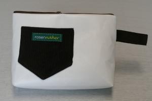 Universaltäschchen mit Innentaschen - Upcycling aus Werbebanner / Hosen