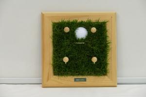 Schlüsselbrett - Golf / Kindergarderobe / Aufhänger - Kunstrasen, Holz, Upcycling Aktenordnerbügel, Golfball