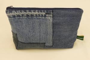 Universaltäschchen - Upcycling Jeanshosenteile / karierter Stoff