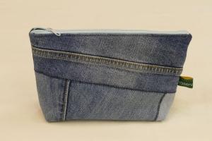 Universaltäschchen - Upcycling Jeanshosenteile mit blauem Cordfutter