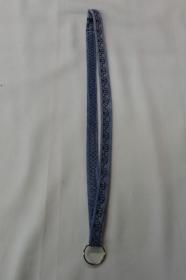 langes Schlüsselband, braun bestickt - Upcycling Jeanshose