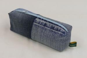 Mäppchen - Upcycling aus Jeanshosenteilen / karierter Stoff