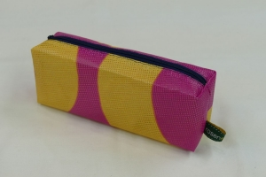 Mäppchen - Upcycling aus Werbebanner, pink / gelb