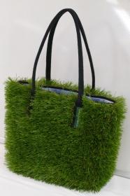 Handtasche - Kunstrasen + Upcycling Jeanshemd / Sonnenliegenstoff