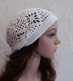 Amy ♥ Häkelkäppchen, Beanie, Sommermütze in weiß - Polyacryl (Microfaser) - Handarbeit kaufen
