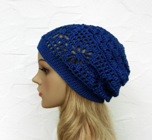 Amy ♥ Häkelkäppchen in royal, blau - 100% Baumwolle