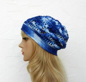 Amy ♥ Häkelkäppchen, Beanie, Sommermütze in blau, weiß - 100% Baumwolle - Handarbeit kaufen