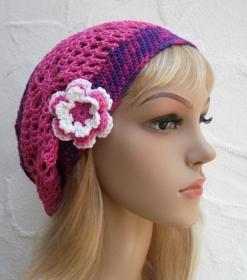 Amy ♥ Häkelkäppchen, Beanie, Sommermütze in lila, pink - 100% Baumwolle - Handarbeit kaufen