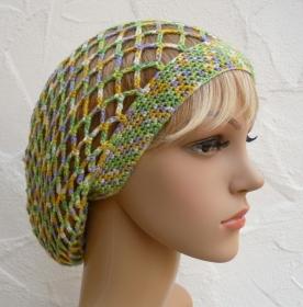 Emily ♥ Netzhaube, Sommermütze in grün, gelb, lila, weiß - Viskose - Handarbeit kaufen