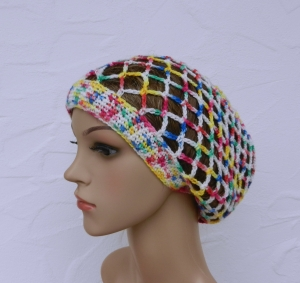 Emily ♥ Netzhaube, Sommermütze in blau, grün, gelb, rot, multicolor - Polyacryl - Handarbeit kaufen