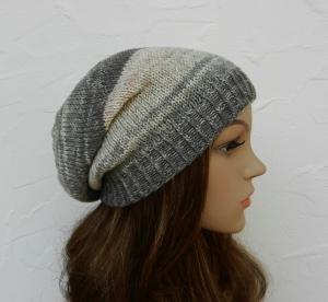 Beanie, Wintermütze in grau, weiß, leicht rosé - Baumwolle - weich, kratzfrei - Handarbeit kaufen