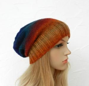 Beanie, Wintermütze in multicolor Farbverlaufsgarn - Alpaka, Wolle Mix - Handarbeit kaufen
