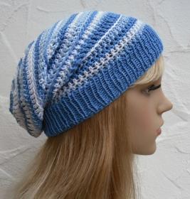 Zoe ♥ Beanie, Sommermütze in blau, hellblau, weiß - 100% Baumwolle - Handarbeit kaufen