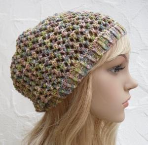 Chloe ♥ Beanie, Sommermütze in bunt pastell - Baumwolle Mix - Handarbeit kaufen