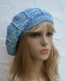 Baske, Sommermütze in blau, hellblau, hellgrün - Baumwolle Mix - Handarbeit kaufen