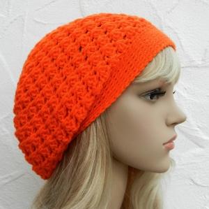 Lisa ♥ Beanie, Wintermütze in leuchtendem orange - 100% Polyacryl - Handarbeit kaufen
