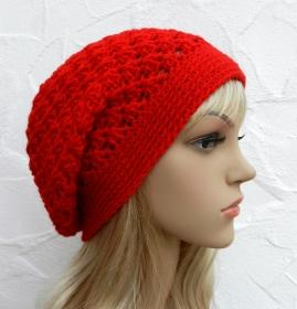 Lisa ♥ Beanie, Wintermütze in leuchtendem rot - 100% Polyacryl - Handarbeit kaufen