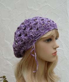 Madison ♥ Baske, Beanie, Mütze für Anlass in violett, silber - Viskose Mix - Handarbeit kaufen