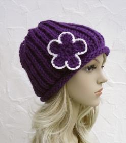 Evie ♥ Boshi, Beanie, Wintermütze in violett - Merino Schurwolle - weich - Handarbeit kaufen
