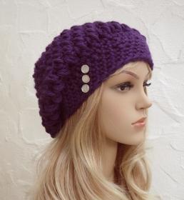 Grace ♥ Beanie, Wintermütze in violett - Merino Schurwolle Mix - weich - Handarbeit kaufen