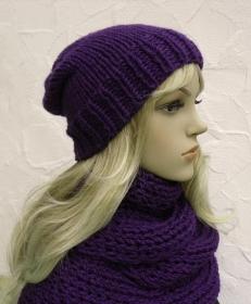Beanie, Boshi, Wintermütze in blauviolett - 100% Polyacryl - Handarbeit kaufen