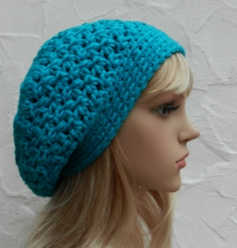 Megan ♥ Beanie, Wintermütze in der Farbe aqua, türkis, blau - Polyacryl, Wolle - Handarbeit kaufen