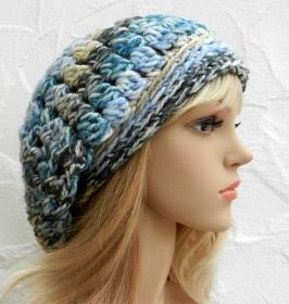 Beanie, Wintermütze in türkis, blau, grau, beige - Wolle Mix - Handarbeit kaufen