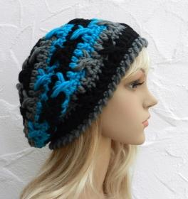 Mel ♥ Beanie, Wintermütze in anthrazit, schwarz, aqua - Schurwolle Mix - Handarbeit kaufen