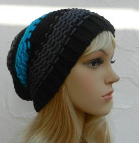 Bommel Mütze, Beanie, Wintermütze  in schwarz, grau, aqua  - 2 Tragevarianten - Schurwolle Mix - Handarbeit kaufen