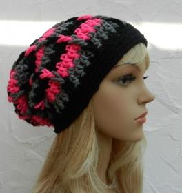 Beanie, Wintermütze in schwarz, mittelgrau meliert, neon pink - Schurwolle Mix - Handarbeit kaufen