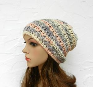 Beanie, Wintermütze in beige, grau, violett, apricot - Polyacryl - weich - Handarbeit kaufen