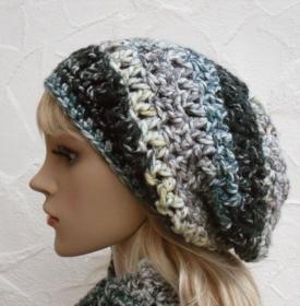 Megan ♥ Beanie, Wintermütze in anthrazit, grün, beige - 100% Polyacryl - weich, kratzfrei - Handarbeit kaufen