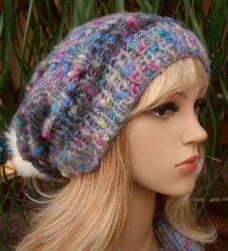 Bommel Mütze, Wintermütze in grau - bunt getupft - Mohair, Polyacryl Mix - Handarbeit kaufen