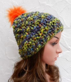 Bommel Mütze, Wintermütze mit Megamaschen in grün, blau, orange, feige - Schurwolle Mix - Handarbeit kaufen