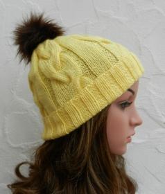 Mia ♥ Mütze, Wintermütze in gelb - 2 Tragevarianten - 100% Polyacryl - weich - Handarbeit kaufen