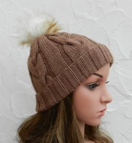 Mia ♥ Mütze, Wintermütze in hellbraun - 2 Tragevarianten - 100% Polyacryl - weich - Handarbeit kaufen