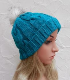Mia ♥ Mütze, Wintermütze in smaragd, türkis - 2 Tragevarianten - 100% Polyacryl - weich - Handarbeit kaufen