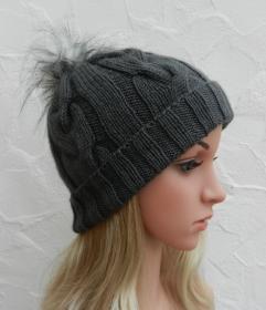 Mia ♥ Mütze, Wintermütze in anthrazit, grau - 2 Tragevarianten - 100% Polyacryl - weich - Handarbeit kaufen