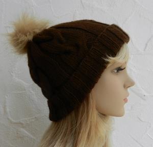 Mia ♥ Mütze, Wintermütze in dunkelbraun - 2 Tragevarianten - 100% Polyacryl - weich - Handarbeit kaufen