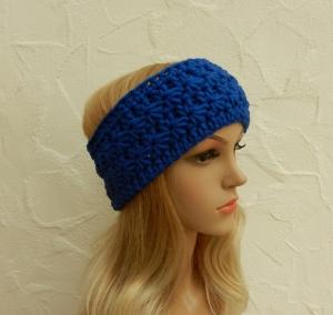 Stirnband, Ohrenwärmer in royal, blau - Polyacryl, Wolle Mix