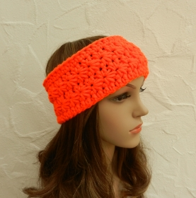 Stirnband, Ohrenwärmer in neon orange - Polyacryl, Wolle Mix - Handarbeit kaufen