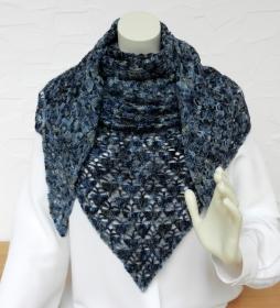 Filigranes Dreieckstuch aus handgefärbter Lace Drachenwolle in blau, schwarz - 100% Schurwolle - Handarbeit kaufen