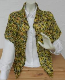 Filigranes Dreieckstuch aus handgefärbter Lace Merino Drachenwolle in grün, gelb, orange, blau - 100% Schurwolle - Handarbeit kaufen