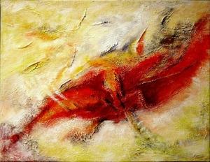 Acrylbild, abstrakt - Phönix aus der Asche - 60x50cm - Handarbeit kaufen