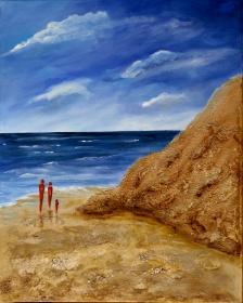 Acrylbild auf Leinwand - Strandspaziergang, Strand, Sommer, Sonne, Sand - 60x70cm - Handarbeit kaufen