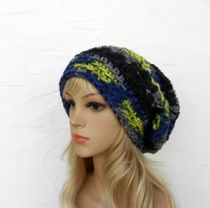 Megan ♥ Beanie, Wintermütze in blau, grau, schwarz, gelb - 100% Polyacryl - Handarbeit kaufen