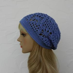 Amy ♥ Häkelkäppchen, Sommermütze, Beanie in wolke, blau - 100% Baumwolle - Handarbeit kaufen