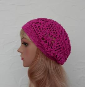 Amy ♥ Häkelkäppchen, Sommermütze, Beanie in cyclam - 100% Baumwolle - Handarbeit kaufen