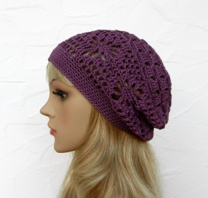 Amy ♥ Häkelkäppchen, Sommermütze, Beanie in hyazinth - 100% Baumwolle - Handarbeit kaufen